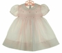 NEW Feltman Brothers Pink Smocked Dress with Embroidered Flowers and Lace Trim