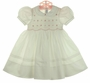 NEW Feltman Brothers White Smocked Dress with Embroidered Pink Flowers and Pintucked Hem