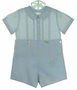NEW Feltman Brothers Blue Embroidered Button on Shorts Set with Pintucks
