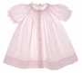 NEW Hand Embroidered Brothers Pale Pink Smocked Daygown with Lace and White Embroidery