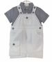 NEW Sarah Louise White Shortall with Navy Checked Shirt