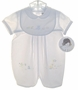 "<img src=""https://p11.secure.hostingprod.com/@grammies-attic.com/ssl/images/blue-sold-1.gif""> NEW Sarah Louise White Baby Romper with Bear Embroidery and Matching Bib and Hat"