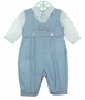 NEW Sarah Louise Blue and White Twill Romper with Embroidered Tow Truck