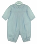 NEW Sarah Louise Blue Romper with Pintucks, Fagoting, and Embroidery