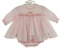 NEW Sarah Louise Pink Smocked Dress with Embroidered Flowers and Scalloped Hem and Matching Diaper Cover