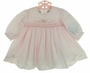 NEW Sarah Louise Pink Smocked Dress with Beading and Embroidered Flowers