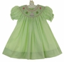 NEW Petit Ami Lime Green Checked Bishop Dress with Birthday Embroidery