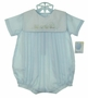 NEW Petit Ami Blue Romper with Train Embroidery and Matching Hat