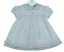 NEW Carriage Boutiques Blue Dress with White Voile Pinafore Style Embroidered Overlay