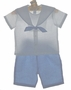 NEW Sophie Dess Blue and White Linen Sailor Shorts Suit