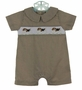 "<img src=""https://p11.secure.hostingprod.com/@grammies-attic.com/ssl/images/blue-sold-1.gif""> NEW Bailey Boys Brown Plaid Smocked Shortall with Embroidered Puppies"