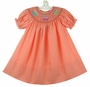 NEW Rosalina Coral Smocked Bishop Dress with Cupcake Embroidery