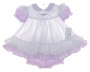 "<img src=""https://p11.secure.hostingprod.com/@grammies-attic.com/ssl/images/blue-sold-1.gif""> NEW Bryan Ruffled Pinafore Style Baby Dress in Lavender and White or Pink and White"