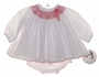 """<img src=""""http://site.grammies-attic.com/images/blue-sold-1.gif""""> NEW Sarah Louise White Batiste Diaper Set with Red Smocking"""