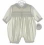 "<img src=""https://p11.secure.hostingprod.com/@grammies-attic.com/ssl/images/blue-sold-1.gif""> NEW Sarah Louise Ivory Smocked Romper with Blue Embroidery"