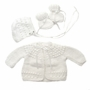 "<img src=""https://p11.secure.hostingprod.com/@grammies-attic.com/ssl/images/blue-sold-1.gif"">NEW White Hand Knit Baby Sweater, Hat, and Booties Set"