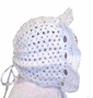 NEW Custom Crocheted White Bonnet with Face Ruffle