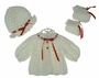 NEW Custom Crocheted White Sweater, Hat, and Booties Set with Red Ribbon Trim
