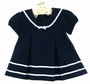 NEW Imagewear Dark Navy Navy Cotton Knit Sailor Dress with White Braid Trim