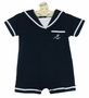 NEW Imagewear Dark Navy Cotton Knit Sailor Romper with White Braid Trim