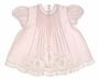 "<img src=""https://p11.secure.hostingprod.com/@grammies-attic.com/ssl/images/blue-sold-1.gif""> NEW Feltman Brothers Pale Pink Baby Dress with Pintucks, Embroidery, and Lace Insertion"