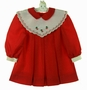 NEW Polly Flinders Red Pleated Dress with Ivory Portrait Collar with Cherry Embroidery