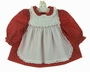 NEW Polly Flinders Red Holiday Print Dress with White Smocked Pinafore