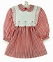 Polly Flinders Red Striped Dress with Gingerbread Embroidered Pinafore