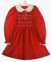 "<img src=""https://p11.secure.hostingprod.com/@grammies-attic.com/ssl/images/blue-sold-1.gif""> Polly Flinders Red Smocked Dress with White Lace Collar and White Embroidery"
