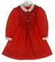 "<img src=""https://p11.secure.hostingprod.com/@grammies-attic.com/ssl/images/blue-sold-1.gif""> Polly Flinders Red Smocked Dress with Eyelet Collar and Embroidered Flowers"