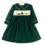 "<img src=""https://p11.secure.hostingprod.com/@grammies-attic.com/ssl/images/blue-sold-1.gif""> Polly Flinders Green Smocked Dress with Christmas Tree Embroidery"