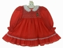 "<img src=""https://p11.secure.hostingprod.com/@grammies-attic.com/ssl/images/blue-sold-1.gif""> Polly Flinders Red Dotted Smocked Dress with Embroidered Pearl Trimmed Tree"