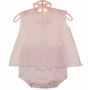 NEW Will'Beth Pink Cotton Diaper Set with Embroidered Diaper Cover