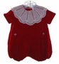 "<img src=""https://p11.secure.hostingprod.com/@grammies-attic.com/ssl/images/blue-sold-1.gif""> Chabre Vintage Style Red Velvet Baby Bubble with Lace Trimmed Collar"