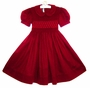 "<img src=""https://p11.secure.hostingprod.com/@grammies-attic.com/ssl/images/blue-sold-1.gif""> NEW Pervenche Red Smocked Dress with Exquisite Hand Embroidery"