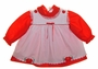"<img src=""https://p11.secure.hostingprod.com/@grammies-attic.com/ssl/images/blue-sold-1.gif""> Red Dotted Dress with Floral Appliqued Pinafore"