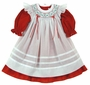 "<img src=""https://p11.secure.hostingprod.com/@grammies-attic.com/ssl/images/blue-sold-1.gif""> NEW Will'Beth Red Dress with White Bishop Smocked Pinafore"