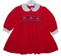 "<img src=""https://p11.secure.hostingprod.com/@grammies-attic.com/ssl/images/blue-sold-1.gif""> House of Hatten Red Corduroy Smocked Baby Dress with Flower Embroidery"