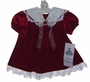 "<img src=""https://p11.secure.hostingprod.com/@grammies-attic.com/ssl/images/blue-sold-1.gif""> NEW Rare Editions Red Velvet Baby Dress with White Lace Trimmed Collar"
