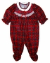 """<img src=""""http://site.grammies-attic.com/images/blue-sold-1.gif""""> NEW Red Plaid Footed Pajamas for Baby Girls with Ruffle Bottom"""