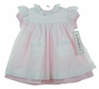 "<img src=""http://site.grammies-attic.com/images/blue-sold-1.gif""> NEW Simi Pink Dress with White Eyelet Trimmed Pinafore and Matching Bonnet"