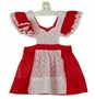 """<img src=""""https://p11.secure.hostingprod.com/@grammies-attic.com/ssl/images/blue-sold-1.gif""""> Heirloom 1950s Red Organdy Pinafore with White Eyelet and Lace Trim"""