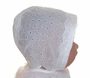 """<img src=""""https://p11.secure.hostingprod.com/@grammies-attic.com/ssl/images/blue-sold-1.gif""""> Heirloom Early 1900s Eyelet Baby Bonnet with Lace Trimed Brim"""
