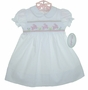 "<img src=""https://p11.secure.hostingprod.com/@grammies-attic.com/ssl/images/blue-sold-1.gif""> NEW Rosalina White Smocked Daygown with Pink Bunnies"