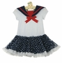 NEW Rare Editions Sailor Dress with Navy Dotted Ruffled Skirt