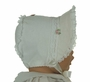 NEW Winter White Corduroy Bonnet with Lace Trim and Pink Rosettes