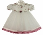 NEW Rose Flowered Baby Dress with White Tulle Rose Ribbon Edged Skirt and Matching Headband