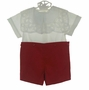 "<img src=""https://p11.secure.hostingprod.com/@grammies-attic.com/ssl/images/blue-sold-1.gif"">  NEW Victorian Heirlooms Red Cotton Button on Shorts Set with White Battenburg Collar"