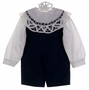 NEW Victorian Heirlooms Black Velvet Shortall Set with Battenburg Lace Collar
