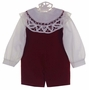 "<img src=""https://p11.secure.hostingprod.com/@grammies-attic.com/ssl/images/blue-sold-1.gif"">  NEW Victorian Heirlooms Dark Red Velvet Shortall Set with Battenburg Lace Trimmed Collar"